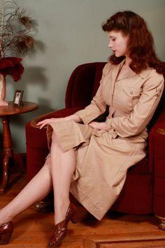 1940s Vintage Uniform Dress - Genuine WWII WAC Summer Off-Duty Dress with Post War Embroidered Shoulder - Off Duty