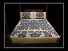 A 2-color dramatic quilt, lei pattern encircles the primary very traditional pattern with large sweeping designs that fill the bed beautifully. Some of our most popular items are our Hand Quilted, cus