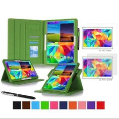 "Galaxy Tab S 10.5"" Case Bundle, roocase Dual View Folio Case Smart Cover Bundle with 4-Pack (2 Matte & 2 HD) Screen Protector for Samsung Galaxy Tab S 10.5 (Supports Sleep/Wake Feature), Green"