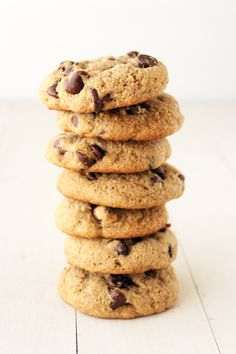 Skinny Chocolate Chip Cookies made with whole wheat flour and no butter!