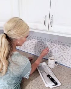 A little backsplash DIY going on at my house this week! Ever since I stenciled our bathroom floor I have been wanting to do our kitchen… Diy Kitchen Paint, Basement Kitchen, Kitchen Dinning, Kitchen Decor, Dining Room, Bathroom Stencil, Stencil Diy, Bathroom Flooring, Stencils