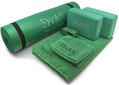 Sivan 6Piece Yoga Set Includes 12 Ultra Thick NBR Exercise Mat 2 Yoga Blocks 1 Yoga Mat Towel 1 Yoga Hand Towel and a Yoga Strap Green * You can get additional details at the image link. (This is an affiliate link)