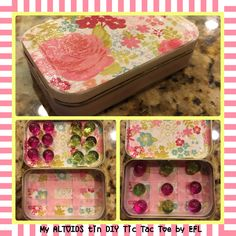My Altoids tin DIY Tick-Tac-Toe Travel Game by EFL using decorative paper, ribbon, magnets and Mod Podge glue.  Use while traveling or in a restaurant waiting.
