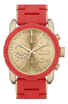 DIESEL® Round Chronograph Silicone Bracelet Watch available at Nordstrom