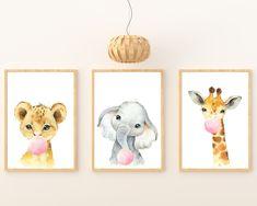 Safari Nursery Animals Blowing Pink Bubble Gum, Set of 3 Wall Art Printables by HolaSunshineDesigns on Etsy Jungle Nursery, Elephant Nursery, Baby Nursery Decor, Animal Nursery, Nursery Themes, Nursery Signs, Nursery Ideas, Colorful Playroom, Floral Printables
