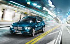 2013 BMW 1 Series Hatchback, blue car, wallpaper, front, motion