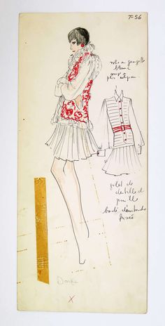 Original Fashion Drawings Attributed to Karl Lagerfeld | From a unique collection of antique and modern drawings at http://www.1stdibs.com/furniture/wall-decorations/drawings/