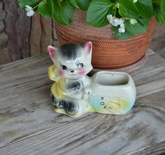 Vintage Cat Kitten with Fishbowl Planter