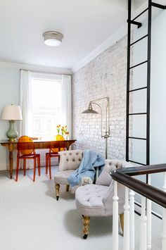 Ladder to roof. Before and After: A Vibrant Park Slope Brownstone via @domainehome