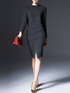 Knitted Wool blend Two Piece Midi Dress