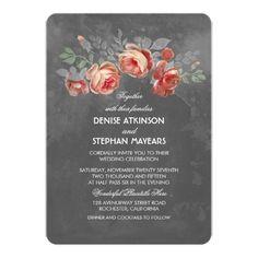 Rustic Floral Chalkboard Wedding Invitations #wedding #invitations