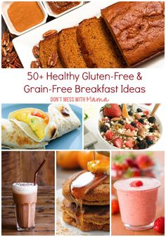 50 Grain Free and Gluten Free Breakfast Recipes - Don't Mess with Mama >> Just a note -- never eat bacon or sausage unless they are made of beef, turkey, or some other variety than pork. PORK IS NOT FOOD! Gluten Free Grains, Foods With Gluten, Sans Gluten, Healthy Grains, Healthy Snacks, Healthy Recipes, Easy Recipes, Health Breakfast, Breakfast For Kids