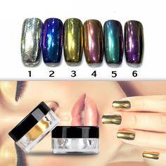 *NEW! Chrome Color Nail Powder - Set of 6 Colors - The Nail Hub - 3