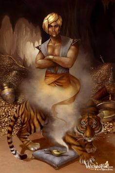 the Genie of the Lamp from Aladdin, along with a tiger