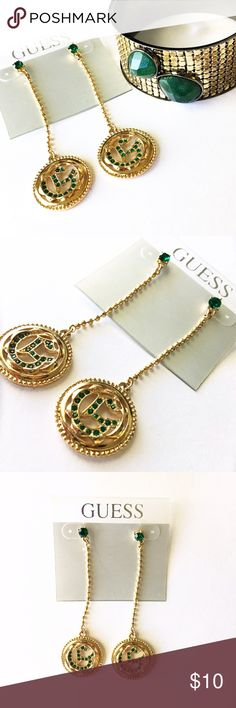 NEW GUESS Gold and Emerald Drop Earrings •  BRAND NEW WITH TAGS • Gold with Emerald accent • G for GUESS circular emblem • 3.5 inches in length • Pair with matching bracelet as a bundle and save 10%! Guess Jewelry Earrings