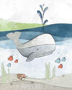 Vivaio nautico Set di 4 arte stampe balena di LowerWoodlandStudio