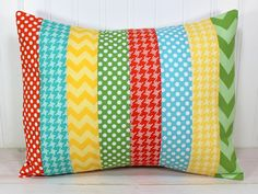 Pillow Cover, 12 x 16 Inches, Nursery Pillows, Unisex Pillow Cover, Yellow, Orange, Aqua Blue, Teal Blue and Green Chevron Gingham Dots on Etsy, $22.50