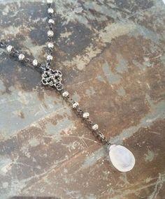 Rainbow Moonstone Silver Y Necklace, Rainbow Moonstone Necklace, Moonstone Y Necklace, Moonstone Necklace, Silver Moonstone Necklace - pinned by pin4etsy.com