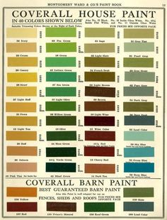 Montgomery Ward house paint colors 1915