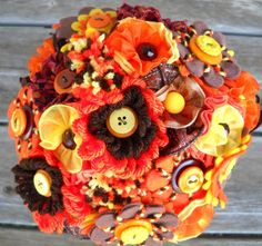 Autumn Splendor Orange Yellow Brown Button Wedding Bouquet