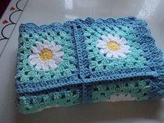 Items similar to Daisy Blanket: Blue & Aqua Cotton on Etsy