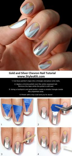 metallic silver & gold triangle negative space