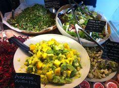 Selection of Foodilic raw food salads Plant Based Eating, Raw Food Recipes, Guacamole, Salads, Avocado, Mexican, Brighton, Ethnic Recipes, Restaurants