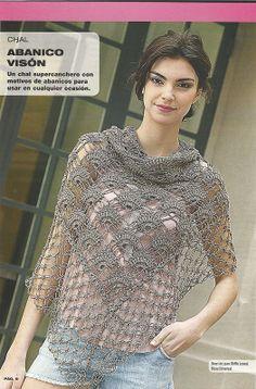 Patrones Crochet: Chal entre punto Abanico y punto Salomon. Stitch diagram and solomon´s knot ending. Gilet Crochet, Crochet Cape, Crochet Motifs, Crochet Stitches, Knit Crochet, Crochet Patterns, Crochet Gratis, Crochet Style, Irish Crochet