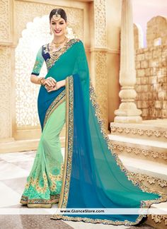 Flawless Faux Georgette Blue Shaded Saree