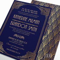 Printable Wedding Invitation Set Art deco DYI by RoseBonBonShop