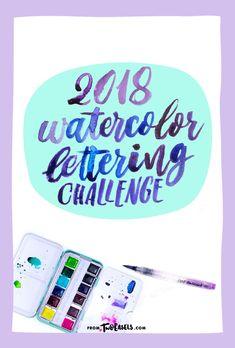 2018 watercolor brush lettering challenge