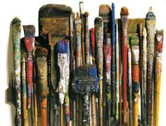 Collection of well used vintage paint brushes
