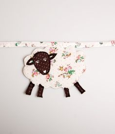 Vintage Floral Sheep Fabric Bunting