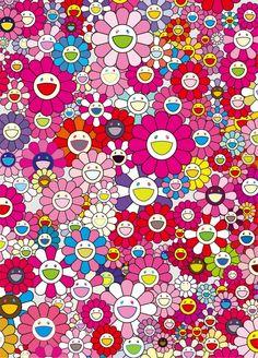 Takashi Murakami est un artiste japonais né en 1962 qui crée des peintures, des sculptures et des installations inspirées de l'art japonais du manga qu'il produit dans différentes couleurs et formats. Il est particulièrement connu pour ses tableaux de fleurs multicolores avec des visages souriants et pour un autoportrait en bonhomme à lunettes qui apparaît plus tard dans ses oeuvres.