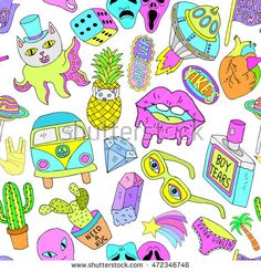 Seamless vector pattern with patch badges or pins made in cartoon style and acid colors on crazy funny freak theme with ufos, lips, pineapple, heart, succulent, crystal.