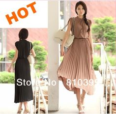 2013 Hotsell New Fashion Round Neck Boho Pleated Chiffon Casual Dress Bohemia Maxi Long Women Dresses M/L/XL Freeshipping#D023 $12.90 - 13.90