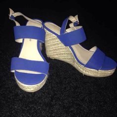 NEW!!! Blue Wedges Brand new, never worn!!! Royal blue wedges with adjustable straps. Super cute!  ***also on Merc!! Montego Bay Club Shoes Wedges