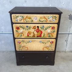 """Chest of drawers with rarely seen hand painted decoration by Juan Duran Tinoco for Angelus Furniture Company - another local competitor of Mason Manufacturing - c.1930s. 45"""" x 32"""" x 20""""."""