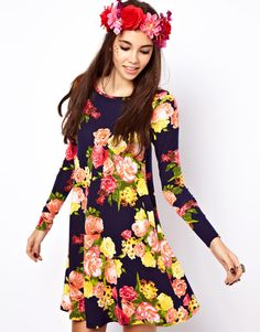 ASOS Swing Dress In Large Yellow Floral Print, wear with jeans!