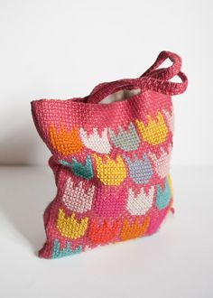 Handmade Embroidered Wool Tote. Pastel colors, Tulip Motif. On Etsy - FineLitttleDay.