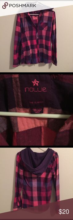 NOLLIE 🌼 Checkered Flannel (M) Excellent condition. Nollie hooded flannel. 100 percent cotton. Size medium. With colors purple, blue, and pink. Nollie Tops Button Down Shirts