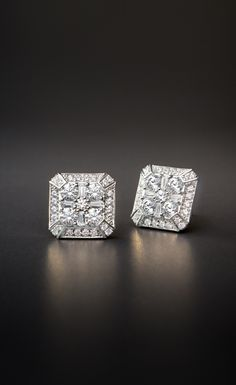 ZAC Zac Posen Diamond Earring in 18k White Gold   Indulge in the chic style of these diamonds stud earrings exclusively at @BlueNile