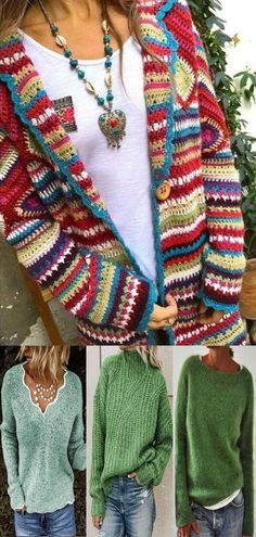 Large size, more colors, more styles. There are more discount surprises waiting for you! Rib Stitch Knitting, Puff Stitch Crochet, Easy Knitting, Knit Crochet, Knitting Looms, Knitting Patterns, Crochet Jumper Pattern, Beachwear Fashion, Casual Sweaters