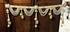 Toran cute beaded tassels and pompoms door hanging or altar hanging Diwali Decoration Items, Thali Decoration Ideas, Handmade Decorations, Housewarming Decorations, Home Wedding Decorations, Festival Decorations, Diwali Diy, Diwali Craft, Door Hanging Decorations