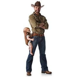 Baby Holster - the manly way to carry a baby. Hahaha