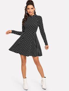 1781c403f6 Mock Neck Polka Dot Dress -SHEIN(SHEINSIDE) Dot Dress