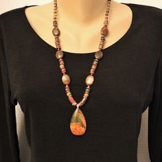 Picasso Jasper and African Green Opal Beads Silver Necklace