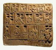 one of the earliest forms of writing - Sumerian account of grain, bread, beer, butter and oil.  3,200 BCE