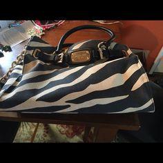 Michael Kors zebra purse handbag black n tan Used Michael Kors purse handbag Michael Kors Bags Shoulder Bags