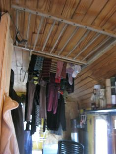 Ceiling rack for hanging clothes to dry - To connect with us, and our community of people from Australia and around the world, learning how to live large in small places, visit us at www.Facebook.com/TinyHousesAustralia or at www.tumblr.com/blog/tinyhousesaustralia